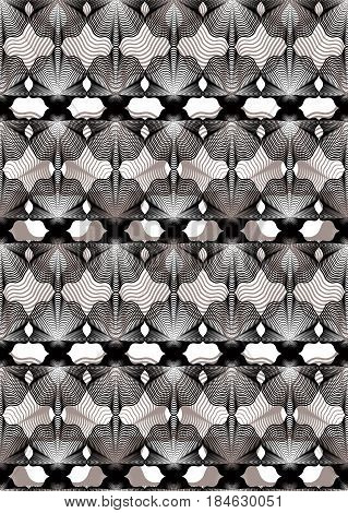 Ornate vector gray abstract background with graphic lines. Symmetric decorative overlay pattern geometric illustration.