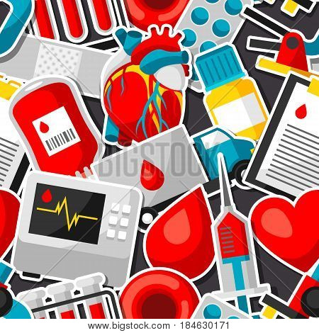 Seamless pattern with blood donation items. Medical and health care sticker objects.