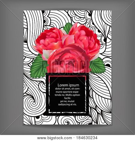 Bouquet of realistic peony roses and leaves on lace background. Card template with text space. Can be used as invitation greeting card celebration etc. Hand drawn