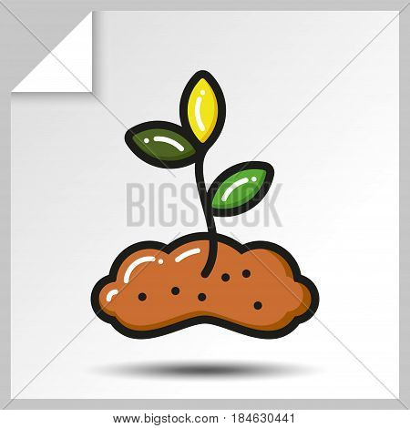 Seedling growing from the earth of gardening icon. Vector Isolated flat colorful illustration.