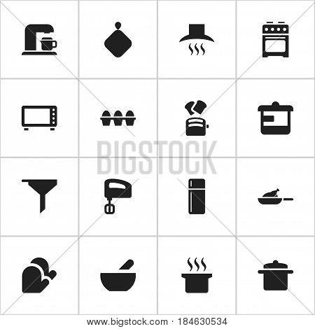 Set Of 16 Editable Meal Icons. Includes Symbols Such As Soup, Agitator, Utensil And More. Can Be Used For Web, Mobile, UI And Infographic Design.