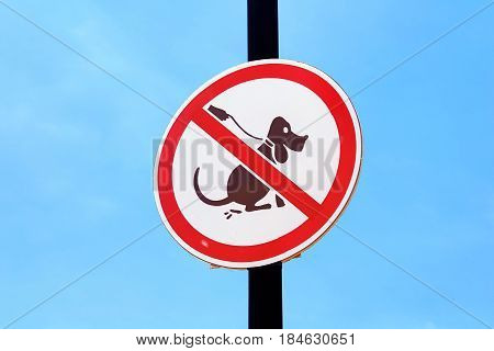 No dog poop sign over blue sky background