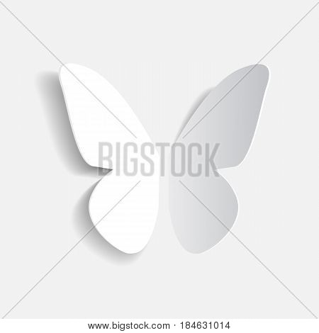 Paper origami white butterfly with shadow vector icon