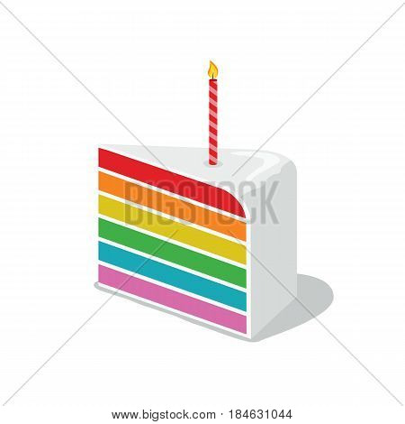 Vector illustration of rainbow Birthday cake with white chocolate and candle
