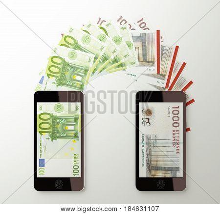 International mobile money transfer with smart phone Euro to Denmar krone. 3d rendered illustration.