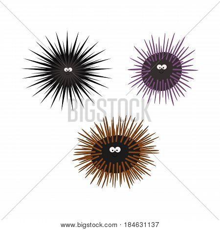 Urchin animal cartoon character. Set black brown purple. Isolated on white background. Vector illustration for children