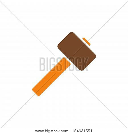 Wooden mallet hammer icon vector filled flat sign solid colorful pictogram isolated on white. Symbol logo illustration