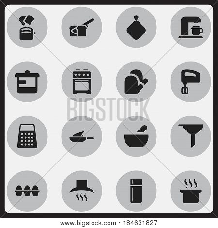 Set Of 16 Editable Food Icons. Includes Symbols Such As Slice Bread, Egg Carton, Soup And More. Can Be Used For Web, Mobile, UI And Infographic Design.