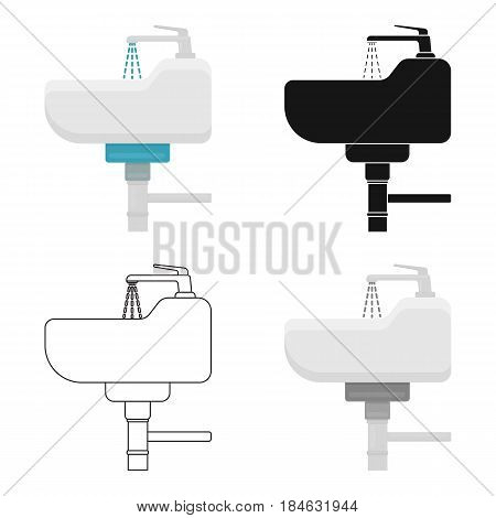 Sink icon in cartoon style isolated on white background. Plumbing symbol vector illustration.