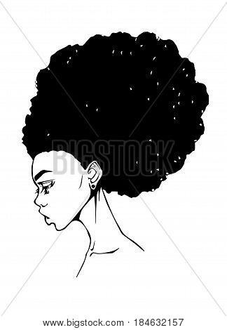 Portrait of a girl with afro in profile vector graphics
