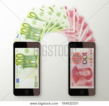 International mobile money transfer with smart phone Euro to Chinese yuan. 3d rendered illustration.