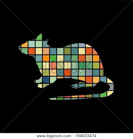 Rat mouse rodent color silhouette animal. Vector Illustrator.