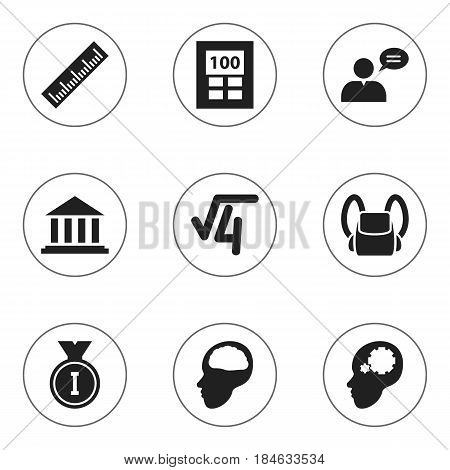 Set Of 9 Editable University Icons. Includes Symbols Such As Cerebrum, Straightedge, Calculator And More. Can Be Used For Web, Mobile, UI And Infographic Design.