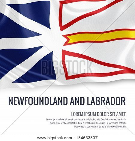 Canadian state Newfoundland and Labrador flag waving on an isolated white background. State name and the text area for your message.