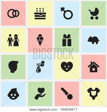 Set Of 16 Editable Family Icons. Includes Symbols Such As Man Emblem, Bodysuit, Cold Dessert And More. Can Be Used For Web, Mobile, UI And Infographic Design.