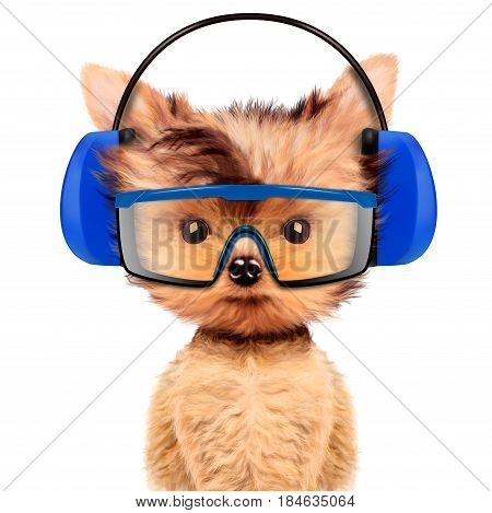 Funny dog in earphone and protective glasses isolated on white. Fixing computer and repair center concept with cute dog. Concepts for web banners, web sites. 3D illustration with clipping path