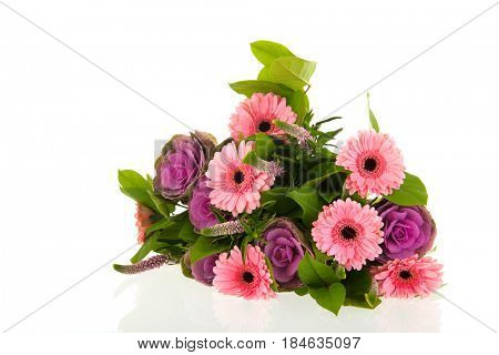 Colorful bouquet Gerber flowers and decoration cabbage