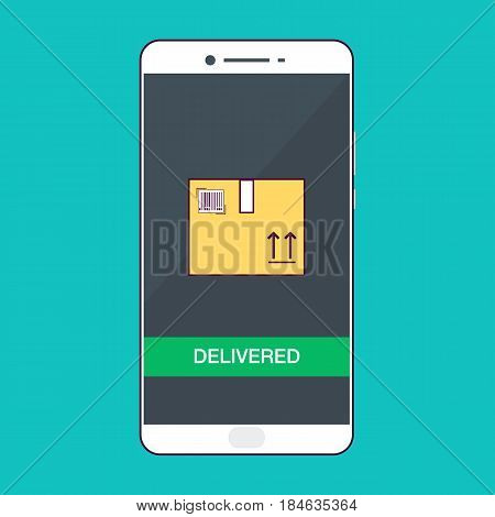 Flat design style vector illustration of modern smartphone with delivery icons on the screen. Near field communication technology concept. Isolated on blue background