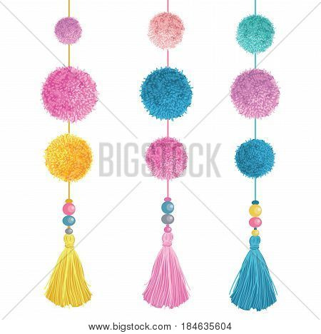 Vector Happy Colorful Birthday Party Pom Poms, Beads, and Tassels Set Of Elements. Great for handmade cards, invitations, nursery designs. Cute Birthday party decor.