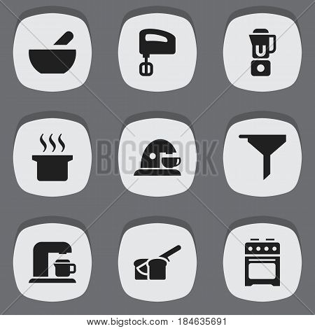 Set Of 9 Editable Meal Icons. Includes Symbols Such As Drink Maker, Agitator, Bakery And More. Can Be Used For Web, Mobile, UI And Infographic Design.