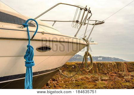 Fishing Boats On The Shore, White Yacht, Fishing And Tourist Industry