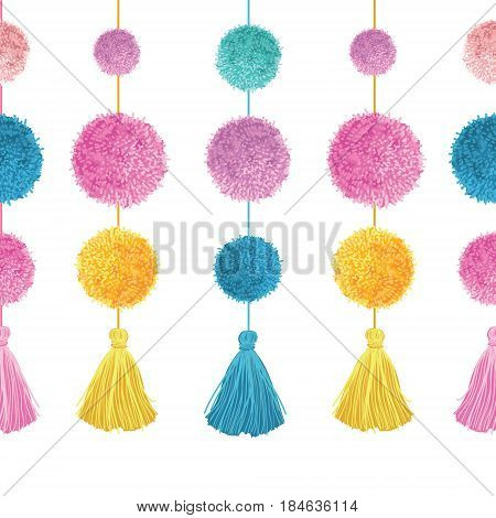 Vector Vibrant Colorful Birthday Party Pom Poms and Tassels Set On Strings Horizontal Seamless Repeat Border Pattern. Great for handmade cards, invitations, wallpaper, packaging, nursery designs. Surface pattern design.