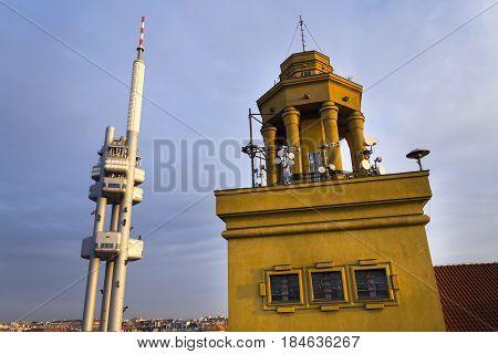 Prague Skyline With Zizkov Television Tower Transmitter