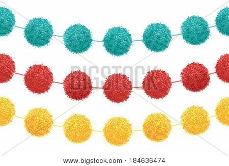 Vector Set of 3 Cute Birthday Party Pom Poms On Strings Horizontal Seamless Repeat Border Pattern. Great for handmade cards, invitations, wallpaper, packaging, nursery designs. Surface pattern design.