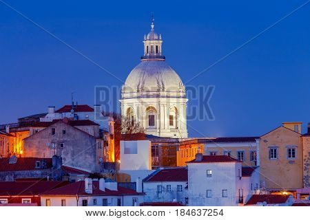 View on National Pantheon and Church of Santa Engracia on the sunset.