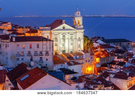 Lisbon. Aerial view Igreja de Santo Estevao on the sunset.