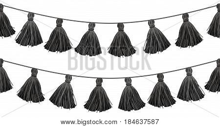 Vector Black Double Hanging Decorative Tassels With Ropes Horizontal Seamless Repeat Border Pattern. Great for tribal inspired cards, invitations, wallpaper, packaging, curtain designs. Surface pattern design.