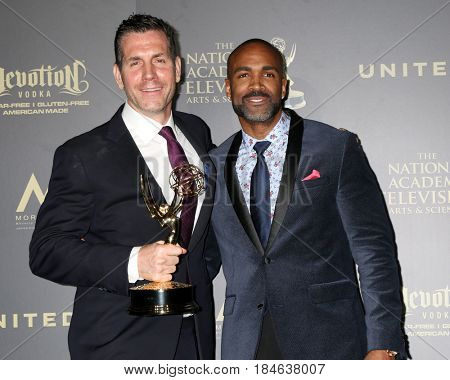 LOS ANGELES - APR 30:  Frank Valentini, Donnell Turner, General Hospital in the 44th Daytime Emmy Awards Press Room at the Pasadena Civic Auditorium on April 30, 2017 in Pasadena, CA