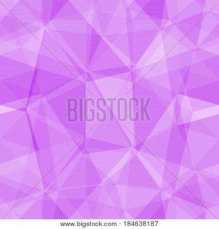 Abstract seamless light and dark purple overlapping triangles pattern for background. Transparency geometric layout for printing magazine cover, advertise presentation. Effect of a kaleidoscope.