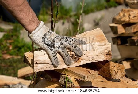 the human hand stacking firewood in a woodpile on green grass in Sunny day
