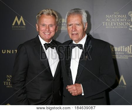 LOS ANGELES - APR 28:  Pat Sajak, Alek Trebek at the 2017 Creative Daytime Emmy Awards at the Pasadena Civic Auditorium on April 28, 2017 in Pasadena, CA