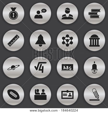 Set Of 16 Editable Education Icons. Includes Symbols Such As Oval Ball, Straightedge, Astrology And More. Can Be Used For Web, Mobile, UI And Infographic Design.
