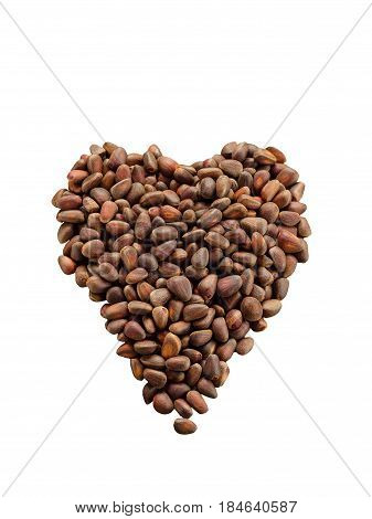 Isolated Unshelled Pine Nuts In Form Of Heart