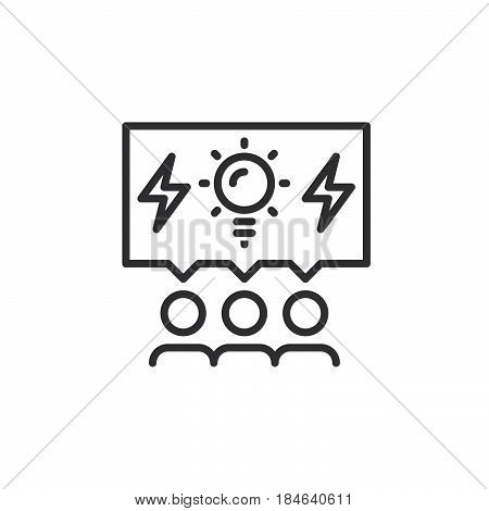 Brainstorming people line icon outline vector sign linear pictogram isolated on white. Brainstorm symbol logo illustration