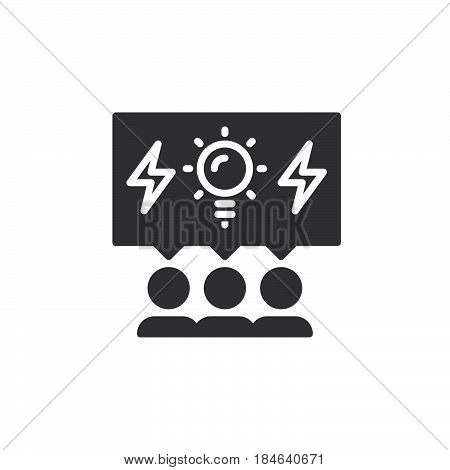 Brainstorming people icon vector filled flat sign solid pictogram isolated on white. Brainstorm symbol logo illustration