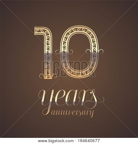 10 years anniversary vector icon symbol. Graphic design element with golden number for 10th anniversary greeting card