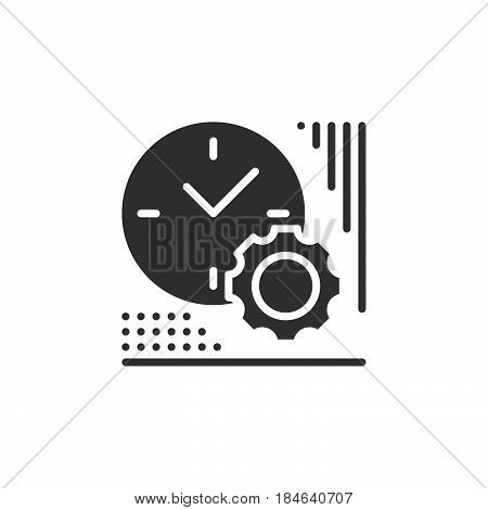 Clock and gear icon vector filled flat sign solid pictogram isolated on white. Time management symbol logo illustration