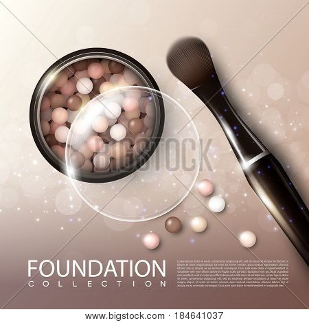 Realistic makeup products ads poster with cosmetic blusher in open case and brush vector illustration