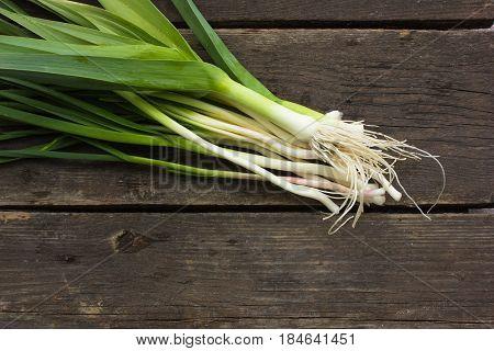 Raw Green Organic young Leeks. Raw Green Organic young Leeks
