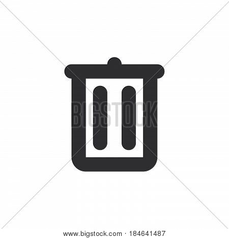 Trash can recycle bin thick line icon outline vector sign linear simple pictogram isolated on white. Delete symbol logo illustration