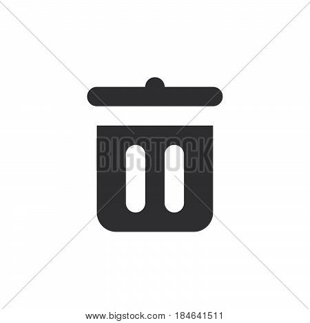 Trash can recycle bin icon vector filled flat sign solid simple pictogram isolated on white. Delete symbol logo illustration