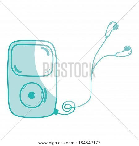silhouette mp3 player with headphones to listen music, vector illustration