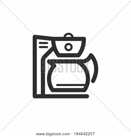 Coffee maker line icon outline vector sign linear pictogram isolated on white. Symbol logo illustration