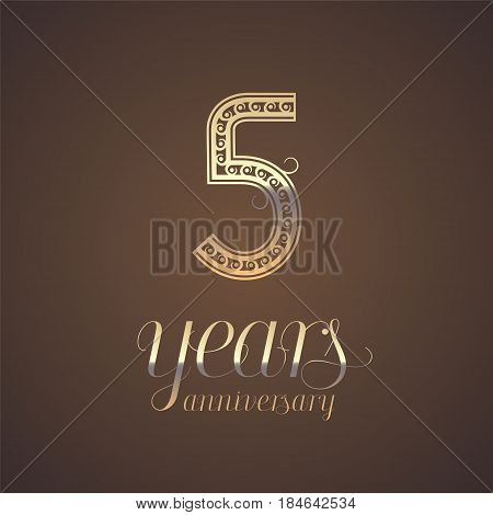 5 years anniversary vector icon symbol. Graphic design element with golden number for 5th anniversary greeting card
