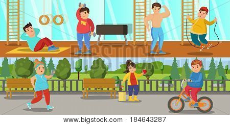 Healthy lifestyle horizontal banners with fat people doing physical exercises in gym and street workout vector illustration