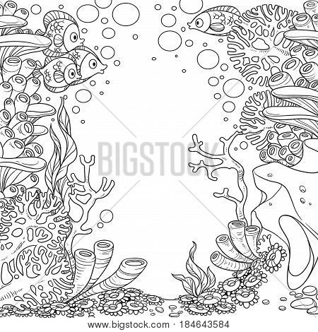 Underwater World With Corals And Anemones Outlined Isolated On White Background